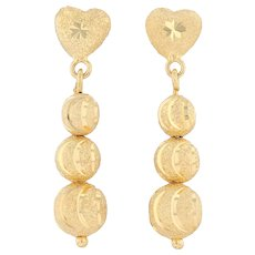 Shimmer Bead Dangle Heart Earrings - 18k Yellow Gold Pierced Drop