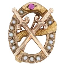 Theta Chi Badge - 10k Yellow Gold Synthetic Ruby Pearls Snake Pin Fraternity