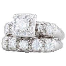 .96ctw Diamond Engagement Ring Wedding Band Bridal Set - 14k White Gold Size 5.5