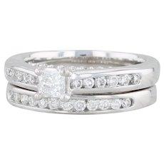 0.68ctw Diamond Engagement Ring Wedding Band Set - 14k White Gold Size 4.5-4.75