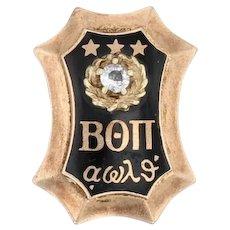 Beta Theta Pi Badge - 14k Yellow Gold Diamond Greek Fraternity Pin