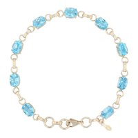 "10ctw Blue Topaz Tennis Bracelet - 14k Yellow Gold 7"" Oval Brilliant"