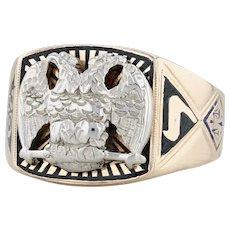 Masonic Scottish Rite Insignia Ring - 14k Gold Size 10 Eagle Yod Rose Croix