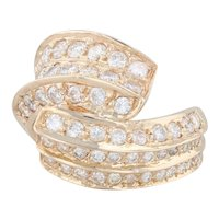 1.70ctw Pave Diamond Cocktail Bypass Ring - 14k Yellow Gold Size 5.5