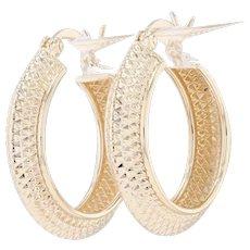 Textured Hoop Earrings - 18k Yellow Gold Pierced Snap Bar
