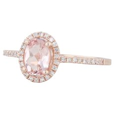 New .87ctw Morganite & Diamond Halo Ring - 14k Rose Gold Size 7.25 Engagement