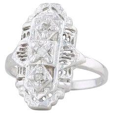 Art Deco Diamond Filigree Ring - 10k White Gold Size 6.25 3-Stone Openwork