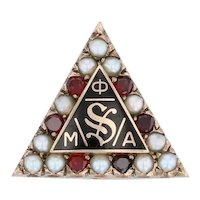 Phi Mu Alpha Badge- 10k Yellow Gold Pearls Garnets Music Sinfonia Fraternity Pin