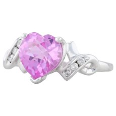 2.57ctw Synthetic Pink Sapphire Heart Diamond Ring - 10k White Gold Size 7