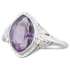 1.95 Floral Filigree Ring - 18k White Gold Size 5 Marquise Solitaire