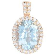 LeVian 2.41ctw Aquamarine Diamond Halo Pendant - 14k Yellow Gold Aqua Drop
