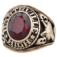 Hartsville High School Class Ring - 10k Gold Size 8.5 Synthetic Ruby 1983
