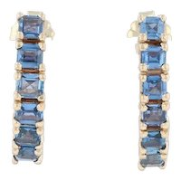 2ctw Blue Synthetic Sapphire Earrings - 14k Yellow Gold Journey Drop Pierced