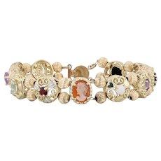 "Vintage Gemstone Slide Charm Bracelet- 10k Yellow Gold 7.5"" Cameo Ruby Amethyst"