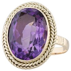 20.26ct Amethyst Cocktail Ring 14k Yellow Gold Size 12.5 Oval Solitaire