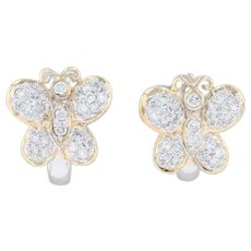 1.10ctw Diamond Butterfly Earrings 18k Yellow White Gold Bug Insect Jewelry