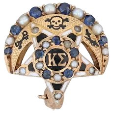 Kappa Sigma Pin 14k Gold Pearls Sapphires Crescent Moon Star Fraternity Badge