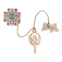 Sigma Pi Cross Badge 10k Gold Pearls Rubies Emerald Greek Fraternity Pin