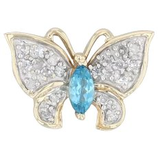 0.50ctw Topaz Diamond Butterfly Pendant 10k Yellow Gold Insect Jewelry