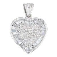 1.40ctw Diamond Halo Heart Pendant 18k White Gold Pave