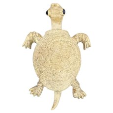 Tiffany & Co Turtle Brooch 18k Yellow Gold Blue Sapphire Eyes Vintage Pin