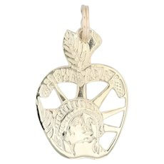 New York City Souvenir Charm 14k Yellow Gold Apple Statue of Liberty