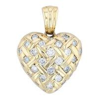 1ctw Diamond Lattice Work Heart Enhancer Pendant 18k Yellow Gold Basket Weave