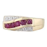 0.79ctw Ruby Diamond Ring 18k Yellow Gold Size 7.25