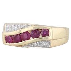 0.79ctw Ruby Diamond Ring 18k Yellow Gold Size 7.25