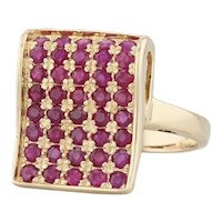 New Pave 1ctw Ruby Ring 18k Yellow Gold Size 7.25 Concave Cocktail Ring
