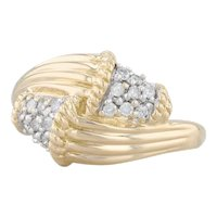 New 0.15ctw Diamond Cluster Bypass Ring 18k Yellow Gold Size 7.25