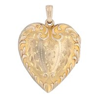 Engravable Floral Locket Pendant 10k Yellow Gold Vintage Picture Holders