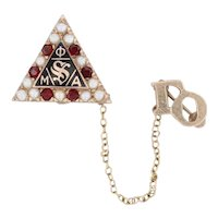 Phi Mu Alpha Badge 10k Yellow Gold Pearls Garnets Sinfonia Music Fraternity Pin