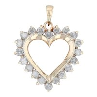 1ctw Diamond Halo Heart Pendant - 10k Yellow Gold Open Heart
