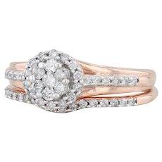 0.30ctw Diamond Engagement Ring Wedding Band - 10k Rose Gold Round Halo 6.5 7