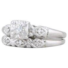 0.14ctw Diamond Engagement Ring Wedding Band Set 14k White Gold Sizes 5.75 6.25