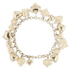 "Hearts Charm Bracelet - 14k Yellow Gold 7"" Italian Rolo Chain"