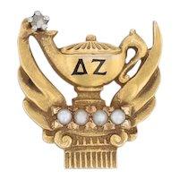 Delta Zeta Sorority Pin 18k Gold Pearls Diamond Lamp of Knowledge Badge 1920s