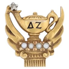 Delta Zeta Sorority Pin 18k Gold Pearls Diamond Lamp of Knowledge Badge 1920s