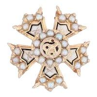 Sigma Nu Snake Badge 14k Gold Pearls Fraternity Pin Vintage 1940s