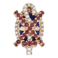 Alpha Chi Rho Badge 14k Yellow Gold Pearls Garnets Greek Fraternity Pin