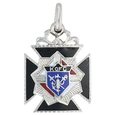 Knights of Columbus Cross Charm 14k Gold Engravable Fob Pendant K of C