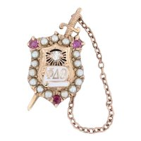Phi Delta Theta Shield Sword Badge 10k Gold Diamond Ruby Pearl Fraternity Pin