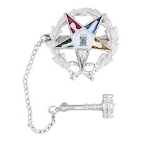 Order of the Eastern Star Pin Gavel Guard 10k White Gold Synthetic Gemstones