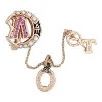 Lambda Chi Alpha Crescent Badge 10k Gold Rubies Pearls Officer Fraternity Pin
