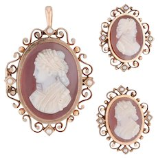 Antique Victorian Carved Agate Cameos - 3 Pins Pendant 12k Gold Pearls Hair
