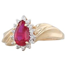 Synthetic Ruby Teardrop Diamond Halo Ring - 14k Yellow Gold Size 7.25 Bypass