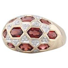 3.74ctw Garnet Diamond Cluster Ring - 10k Yellow Gold Size 8 January Birthstone