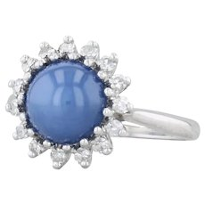 Linde Synthetic Star Sapphire Diamond Halo Ring - 14k White Gold Size 6