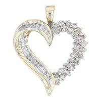 1 Carat Diamond Open Heart Pendant - 10k Yellow Gold Drop April Birthstone